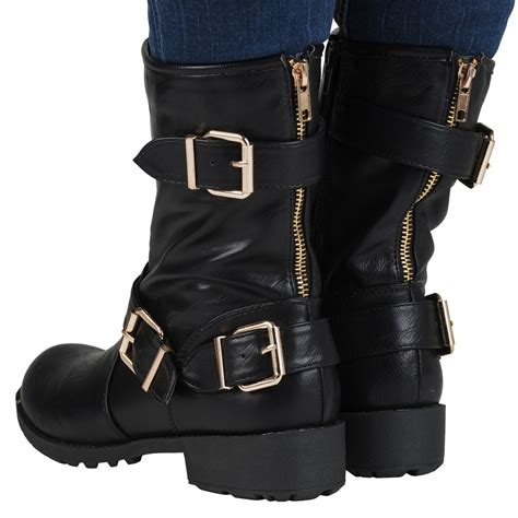womens biker boots fashion bonnie womens low heels leather look ladies ankle boots