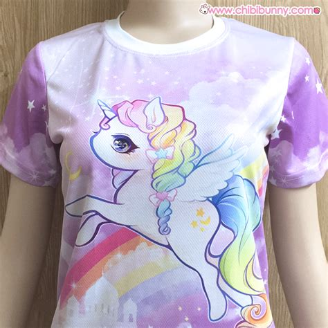 Pastel rainbow unicorn - Cute kawaii mesh T-shirt - T2 u00b7 Chibi Bunny u00b7 Online Store Powered by ...