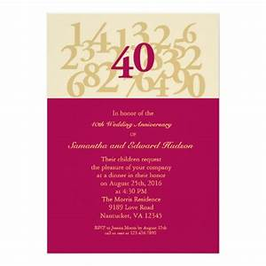 40th ruby wedding anniversary invitation zazzle for 40th wedding anniversary invitations