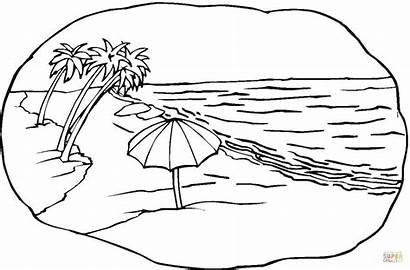 Coloring Beach Pages Scene Supercoloring Printable Drawing