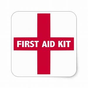 First Aid Kit Sign Square Sticker   Zazzle