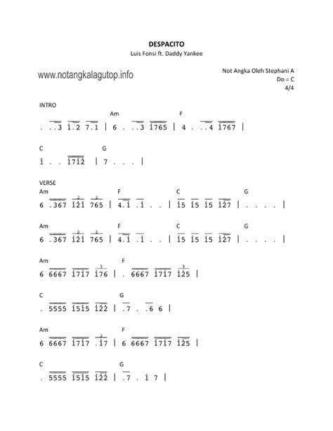 not pianika lagu barat terbaru not angka dan lirik lagu despacito dari luis fonsi ft yankee not angka lagu pop barat
