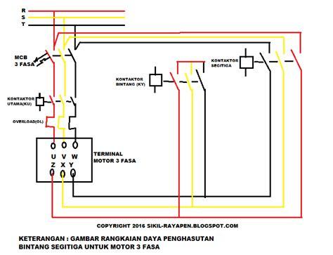 penghasutan bintang segitiga manual motor 3 fasa sikil rayapen