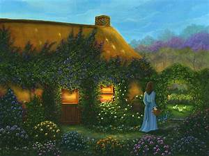 Irish Cottage Painting by Bonnie Cook