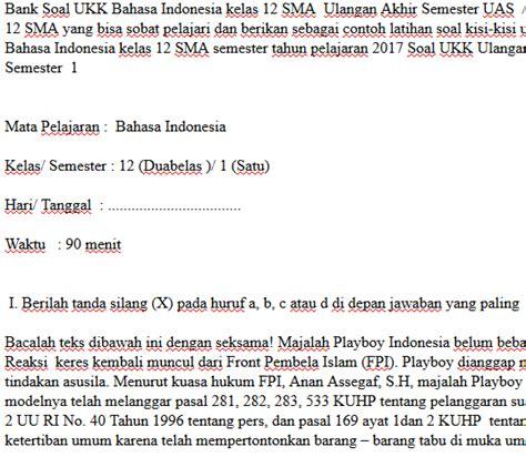 soal ukk uas bahasa indonesia kelas  smasmk semester