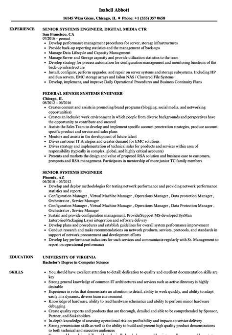 senior system engineer sle resume front desk clerk