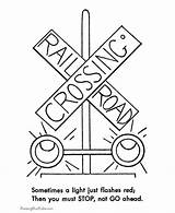 Train Coloring Pages Railroad Safety Trains Traffic Sheets Crossing Signs Track Sign Drawing Lights Signal Caboose Rail Tracks Printable Road sketch template