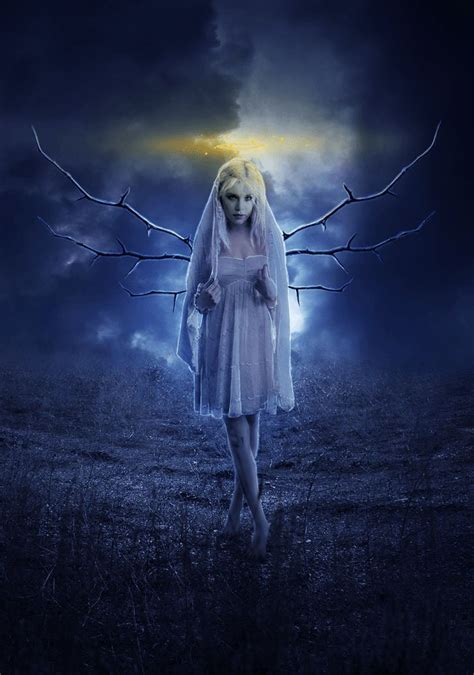 create  beautiful moonlight angel photo composite