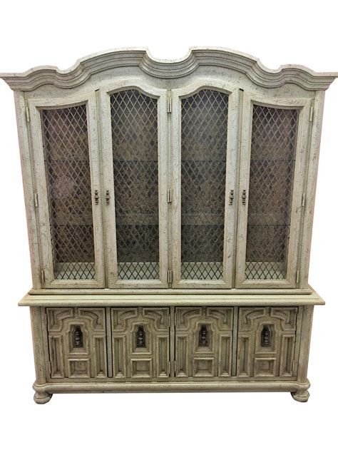 stanley furniture china cabinet vintage stanley solid wood china cabinet chairish