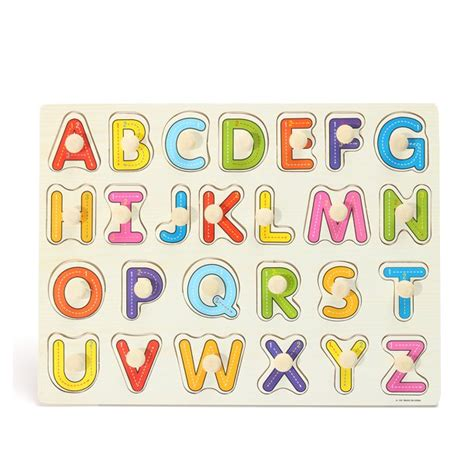 hallolure wooden pcs letters alphabet abc peg jigsaw puzzle toy children kids baby toddlers