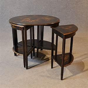 Art, Deco, Nest, Tables, Ebonised, Oriental, Asian, Side, Tables