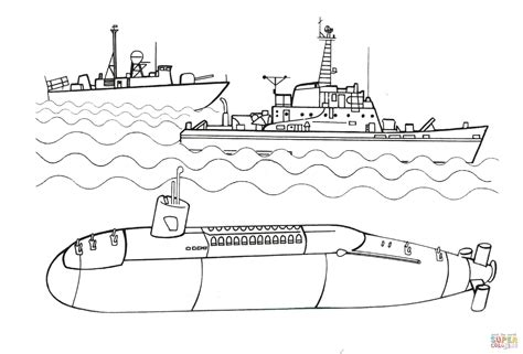 Submarine And Warships Coloring Page