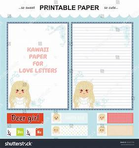 Vector Printable Letter Paper Stationery Flat Stock Vector ...