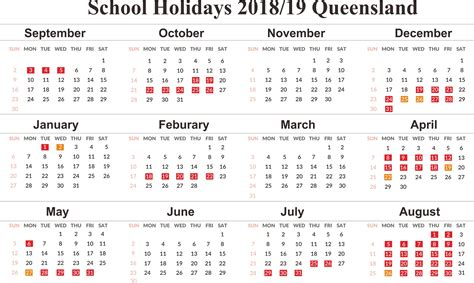qld school holidays printable  calendar