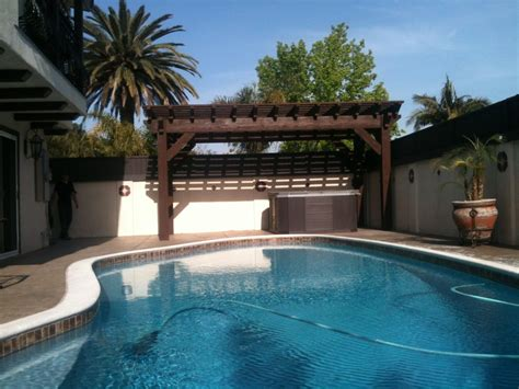 pool with pergola uraynar pool side pergola western timber frame