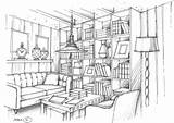 Interior Drawing Perspective Living Renderings Sketch Rendering Colouring sketch template