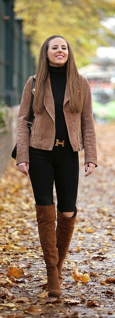 Taupe Knee High Boots Outfit
