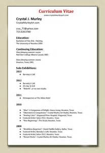 Artist Curriculum Vitae Format by Murley About Me