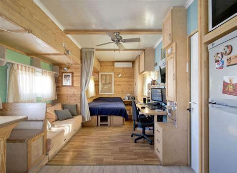 converted solar truck home  warm wooden interior