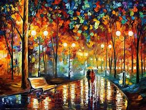 RAIN'S RUSTLE — PALETTE KNIFE Oil Painting On Canvas By