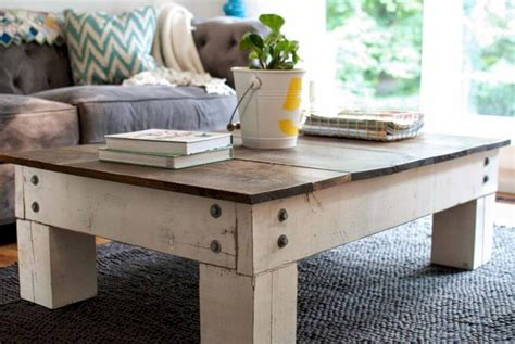 The contrast of the distressed painted base with the wax sealed finish gives it a nice satin glow that you'll love. 33 Best Chunky Farmhouse Coffee Table ~ Matchness.com