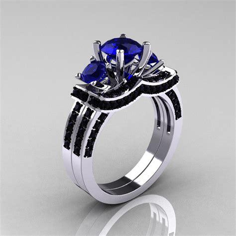 14k white gold three stone blue sapphire black diamond wedding ring engagement ring