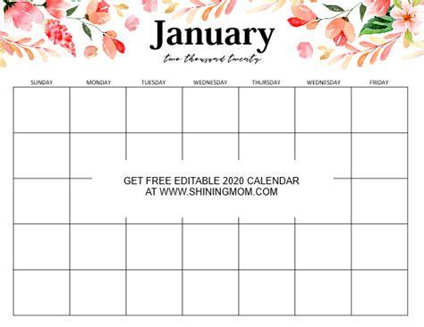 fully editable calendar template word