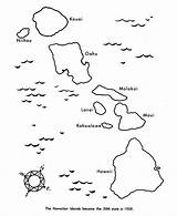 Hawaii Coloring Map State Island Islands Pages Hawaiian Outline Printable Printables Clipart Usa Volcanic Blank Hawaiis Tree Preschool Crafts Party sketch template