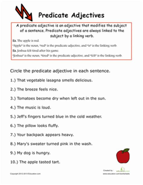 worksheets on predicate adjectives predicate adjectives worksheet education