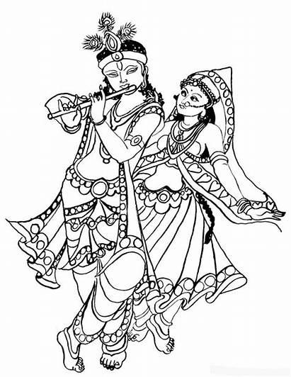 Krishna Coloring Pages Radha Clipart Janmashtami Festival