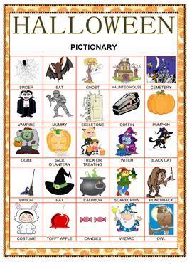 11 Free Esl Halloween Pictionary Worksheets