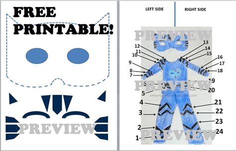 pj masks template free printable template for diy catboy pj cat preview from the free