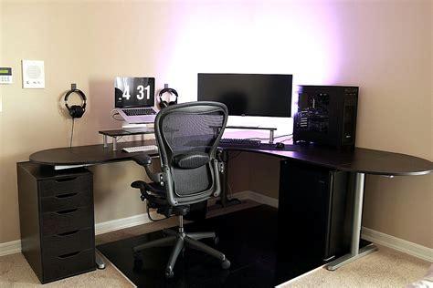 simple battlestation with ikea galant bekant desk in black
