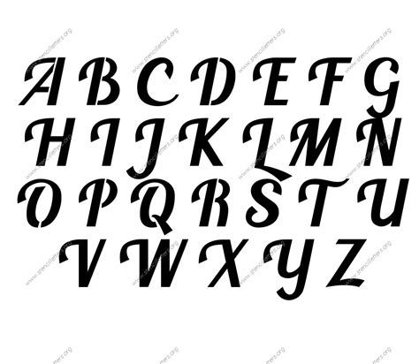 script calligraphy uppercase lowercase letter stencils
