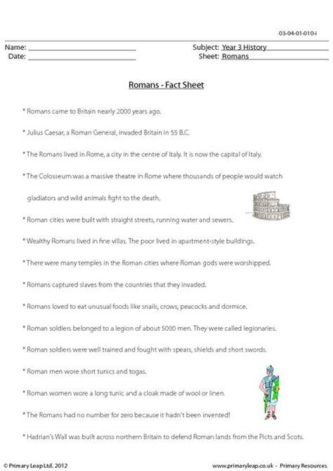 primaryleap co uk romans fact sheet worksheet