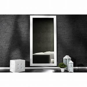 Grand Miroir Mural : grand miroir mural moderne en bois de couleur blanche ~ Preciouscoupons.com Idées de Décoration