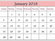 January 2018 Printable Calendar 2018 calendar with holidays