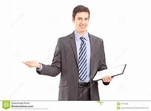 Young Professional Man Holding A Clipboard And Gesturing