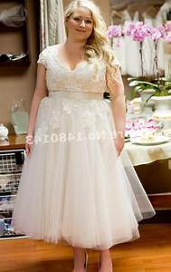 plus size wedding dresses with sleeves tea length With plus size tea length wedding dress