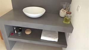 meuble de salle de bain design en beton cire atlantic With meuble salle de bain effet beton