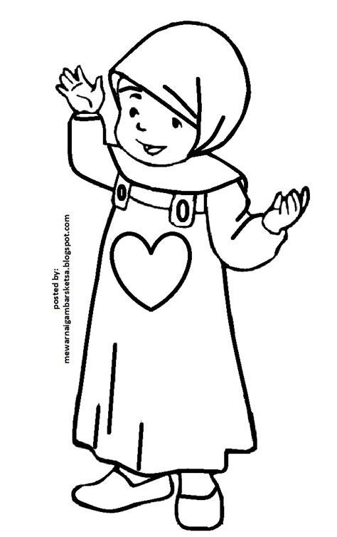Lihat ide lainnya tentang kartun, kartun hijab, seni islamis. Gambar Mewarnai Gambar Sketsa Kartun Anak Muslimah 14 Berangkat Sekolah Tk di Rebanas - Rebanas