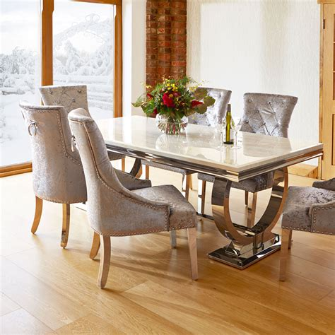 kitchen dining table set marble and chrome dining table 6 silver louis chairs
