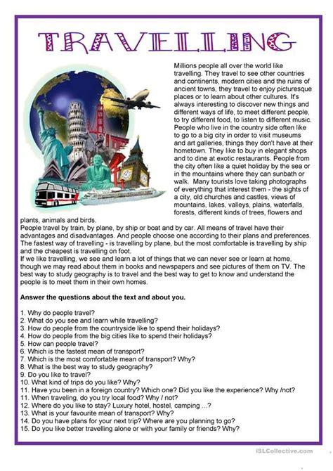 tourisme travelling worksheet  esl printable