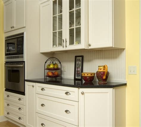 White Kitchen Hutch Cabinet by Inspired Beadboard Backsplash Mode New York Traditional