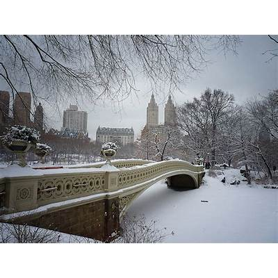 Bow Bridge in the Snow - Central Park Winter New York