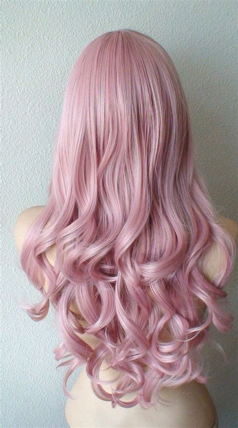 Pastel Wig Blush Pink Wig Light Mauve Pink Wig Long