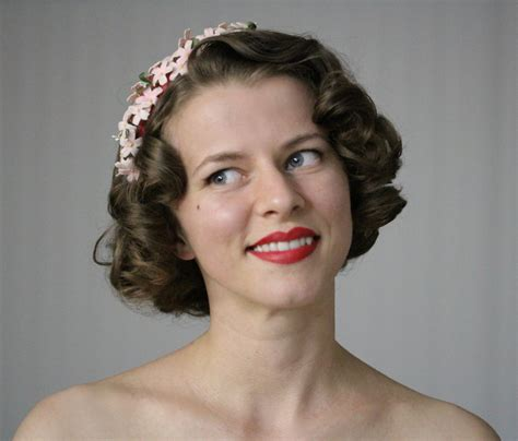 1950s Headband Hairstyle by 1940s Hair Accessory Pink Flower Headband Velvet By