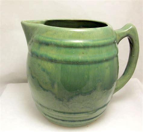 Vintage Mccoy Pottery Barrel Pitcher 1920s Green Drip