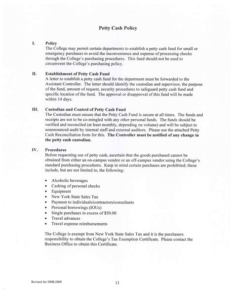 petty cash policy examples   examples