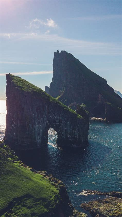 sea stacks drangarnir   islet tindholmur